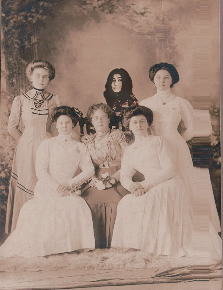 The Roaring Twenties. Front left: My mother's mother, Emily Swirkal Krastin. Rear center: Yoko Ono.